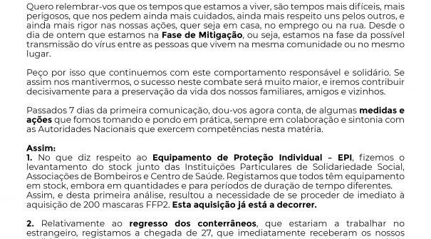 PANDEMIA – COVID-19 | COMUNICADO Nº2