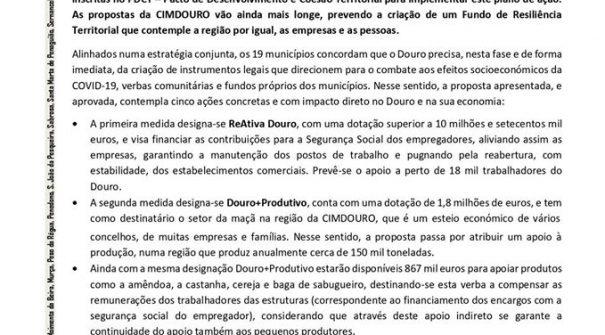 NOTA DE IMPRENSA – CIMDOURO cria pacote de 20 milhões de euros