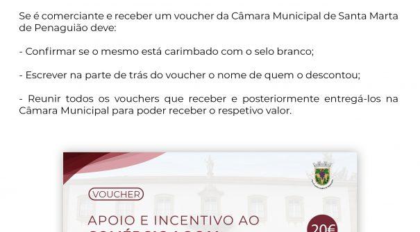 ATENÇÃO Se é comerciante e receber um voucher da Câmara Municipal de Santa Marta de Penaguião deve