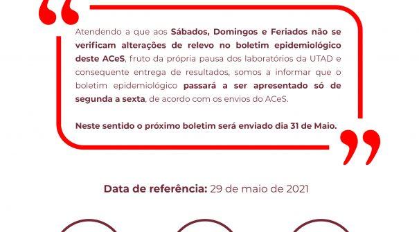 Boletim Epidemiológico do dia 29 de maio 2021